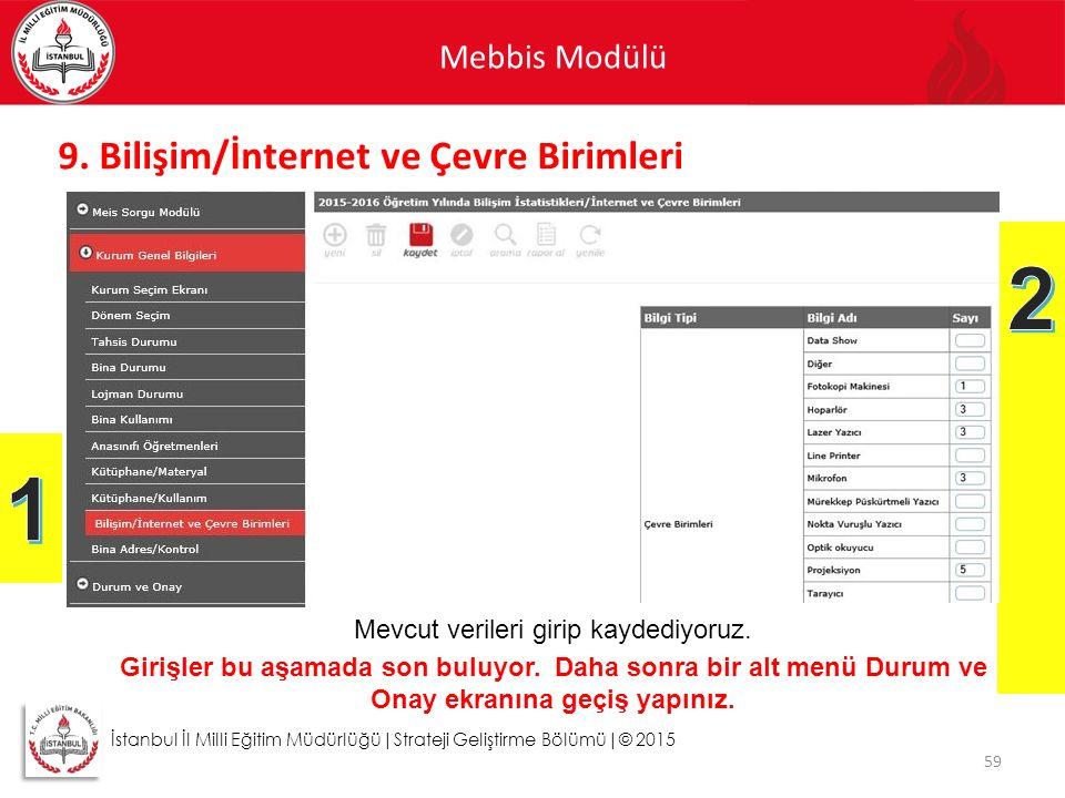 Mebbis Modülü 59 İstanbul İl Milli Eğitim Müdürlüğü|Strateji Geliştirme Bölümü|© 2015 9. Bilişim/İnternet ve Çevre Birimleri Mevcut verileri girip kay