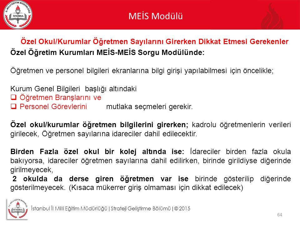 MEİS Modülü 64 İstanbul İl Milli Eğitim Müdürlüğü|Strateji Geliştirme Bölümü|© 2015 Özel Okul/Kurumlar Öğretmen Sayılarını Girerken Dikkat Etmesi Gere