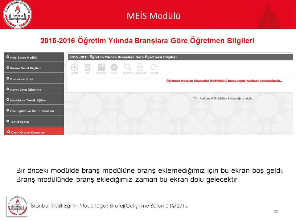 MEİS Modülü 68 İstanbul İl Milli Eğitim Müdürlüğü|Strateji Geliştirme Bölümü|© 2015 2015-2016 Öğretim Yılında Branşlara Göre Öğretmen Bilgileri Bir ön
