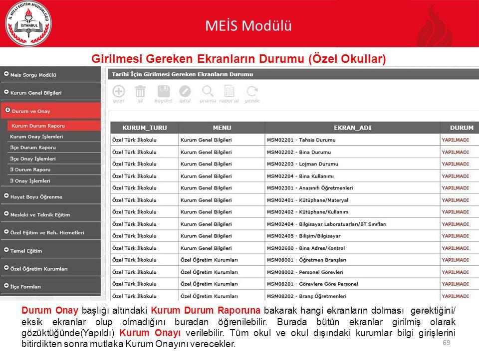 MEİS Modülü 69 Girilmesi Gereken Ekranların Durumu (Özel Okullar) Durum Onay başlığı altındaki Kurum Durum Raporuna bakarak hangi ekranların dolması g