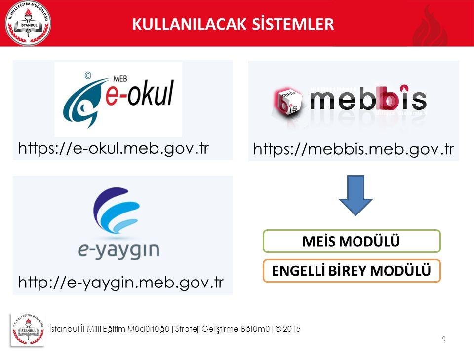 KULLANILACAK SİSTEMLER 9 https://e-okul.meb.gov.tr İstanbul İl Milli Eğitim Müdürlüğü|Strateji Geliştirme Bölümü|© 2015 https://mebbis.meb.gov.tr http