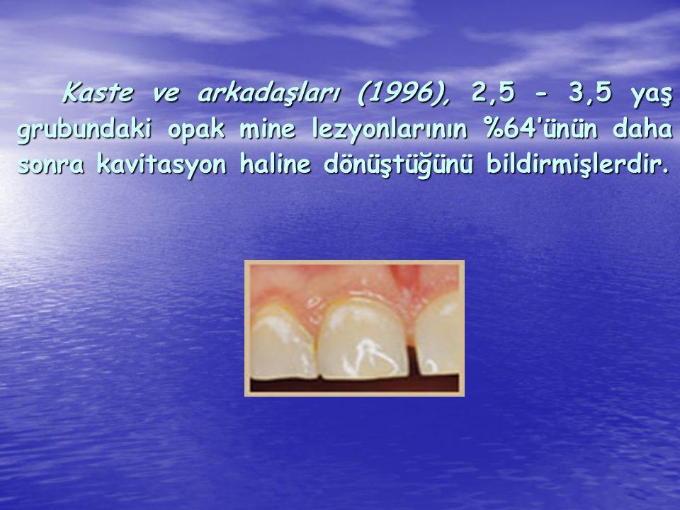 Kaste ve arkadaşları (1996), 2,5 - 3,5 yaş grubundaki opak mine lezyonlarının %64'ünün daha sonra kavitasyon haline dönüştüğünü bildirmişlerdir. Kaste