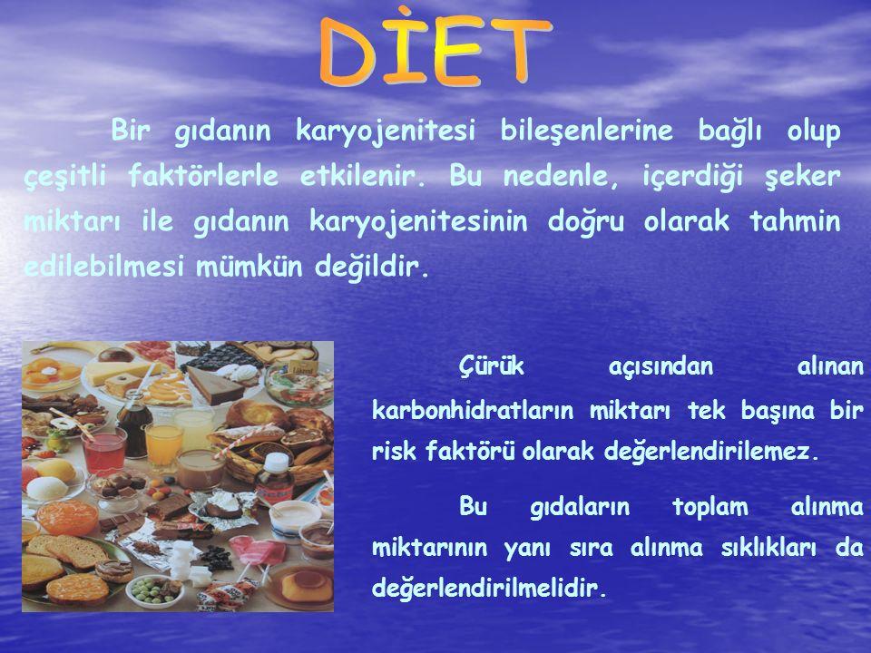 Bir gıdanın karyojenitesi bileşenlerine bağlı olup çeşitli faktörlerle etkilenir. Bu nedenle, içerdiği şeker miktarı ile gıdanın karyojenitesinin doğr