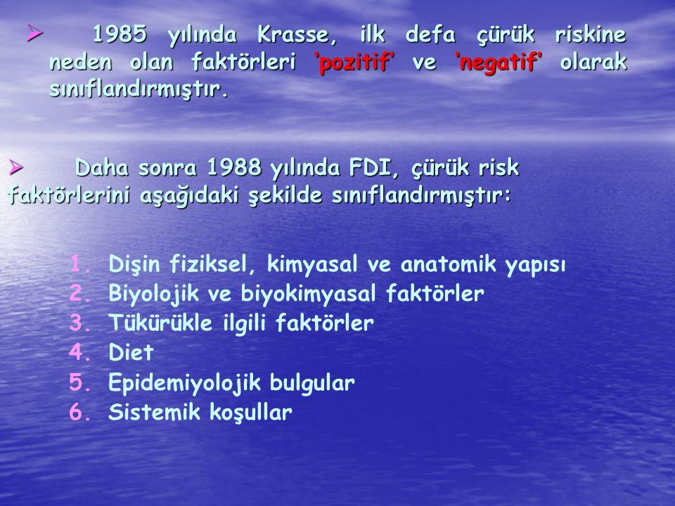  Daha sonra 1988 yılında FDI, çürük risk faktörlerini aşağıdaki şekilde sınıflandırmıştır: 1. 1.Dişin fiziksel, kimyasal ve anatomik yapısı 2. 2.Biyo