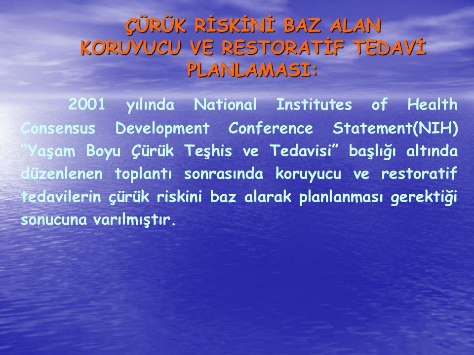 ÇÜRÜK RİSKİNİ BAZ ALAN KORUYUCU VE RESTORATİF TEDAVİ PLANLAMASI: 2001 yılında National Institutes of Health Consensus Development Conference Statement