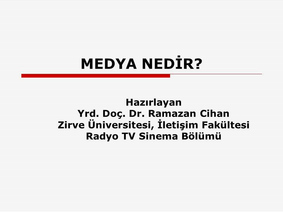MEDYA NEDİR? Hazırlayan Yrd. Doç. Dr. Ramazan Cihan Zirve Üniversitesi, İletişim Fakültesi Radyo TV Sinema Bölümü