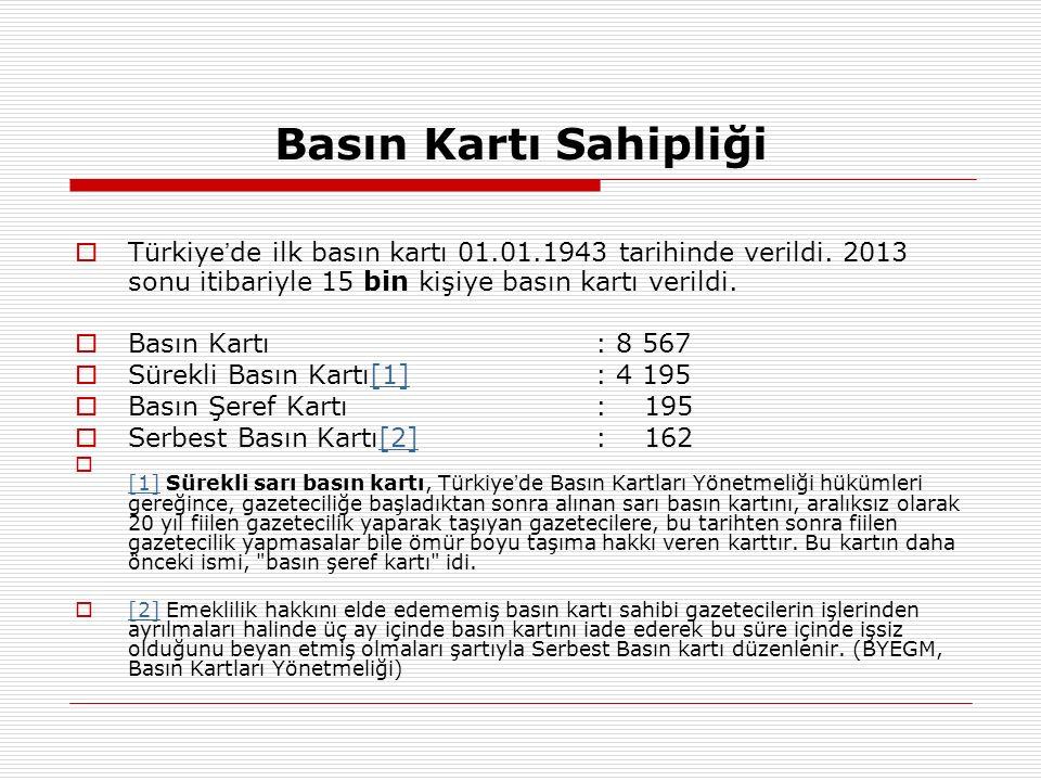 Basın Kartı Sahipliği  Türkiye ' de ilk basın kartı 01.01.1943 tarihinde verildi. 2013 sonu itibariyle 15 bin kişiye basın kartı verildi.  Basın Kar