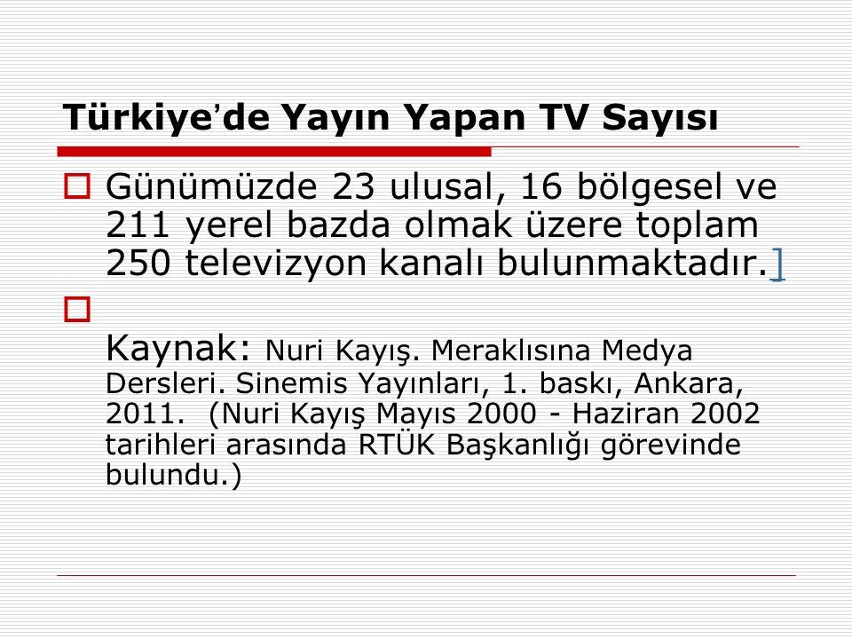 Türkiye ' de Yayın Yapan TV Sayısı  Günümüzde 23 ulusal, 16 bölgesel ve 211 yerel bazda olmak üzere toplam 250 televizyon kanalı bulunmaktadır.]]  K