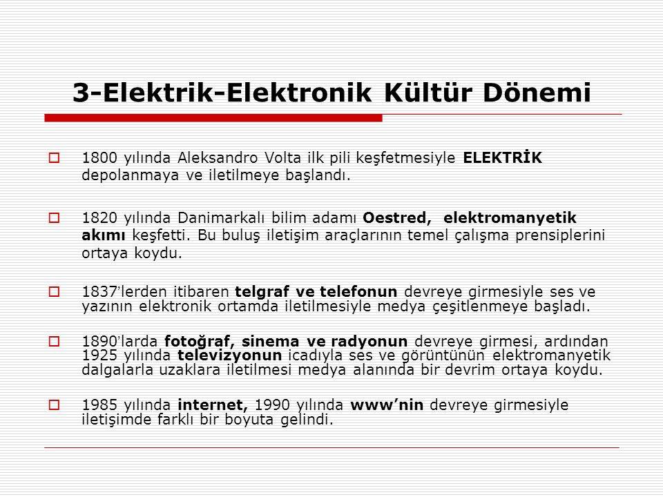 3-Elektrik-Elektronik Kültür Dönemi  1800 yılında Aleksandro Volta ilk pili keşfetmesiyle ELEKTRİK depolanmaya ve iletilmeye başlandı.  1820 yılında