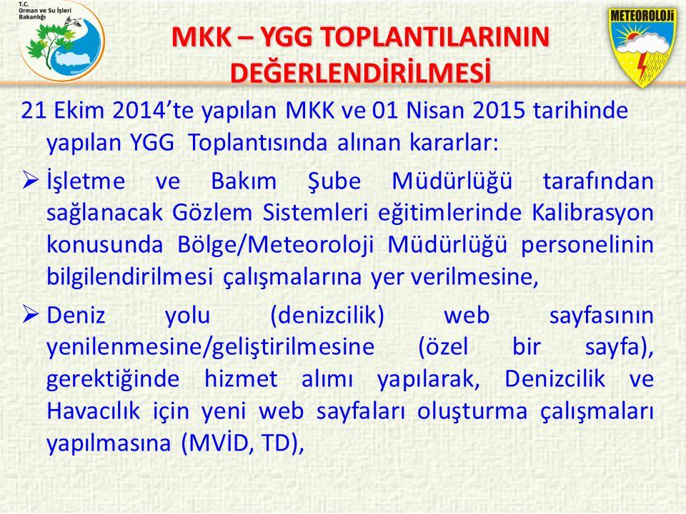 MKK – YGG TOPLANTILARININ DEĞERLENDİRİLMESİ 21 Ekim 2014'te yapılan MKK ve 01 Nisan 2015 tarihinde yapılan YGG Toplantısında alınan kararlar:  İşletm
