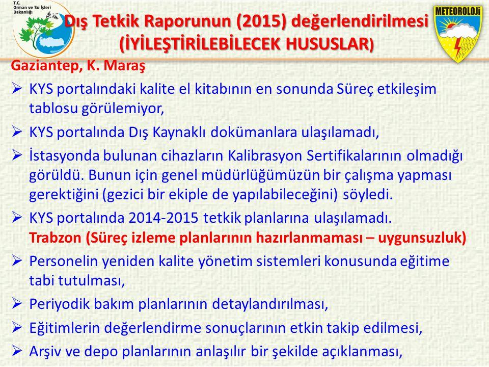 Gaziantep, K. Maraş  KYS portalındaki kalite el kitabının en sonunda Süreç etkileşim tablosu görülemiyor,  KYS portalında Dış Kaynaklı dokümanlara u