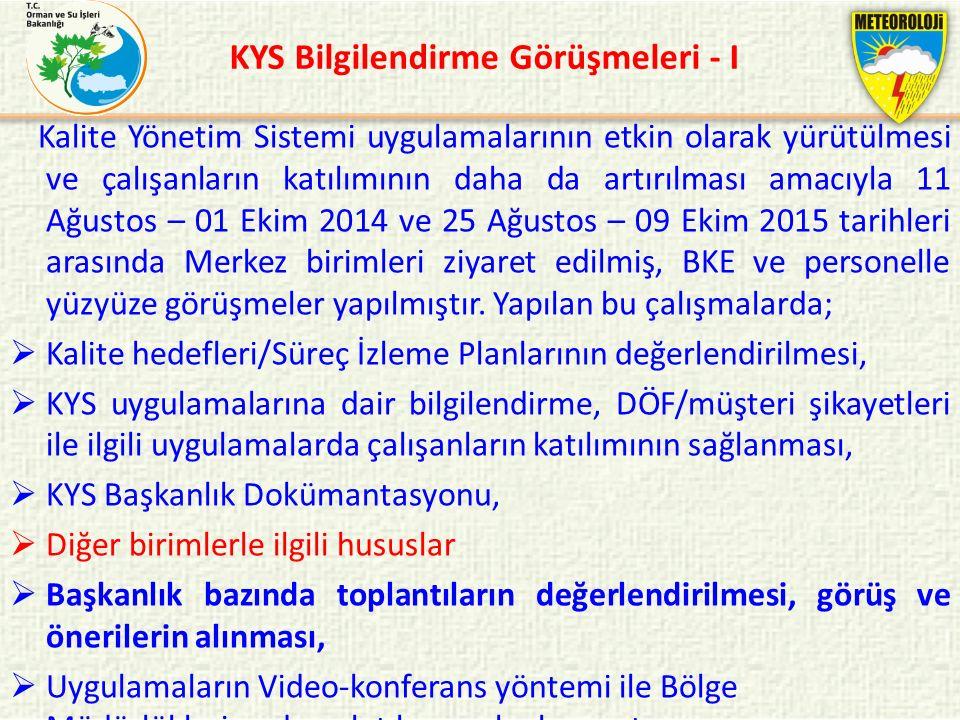 KYS Bilgilendirme Görüşmeleri - I Kalite Yönetim Sistemi uygulamalarının etkin olarak yürütülmesi ve çalışanların katılımının daha da artırılması amac