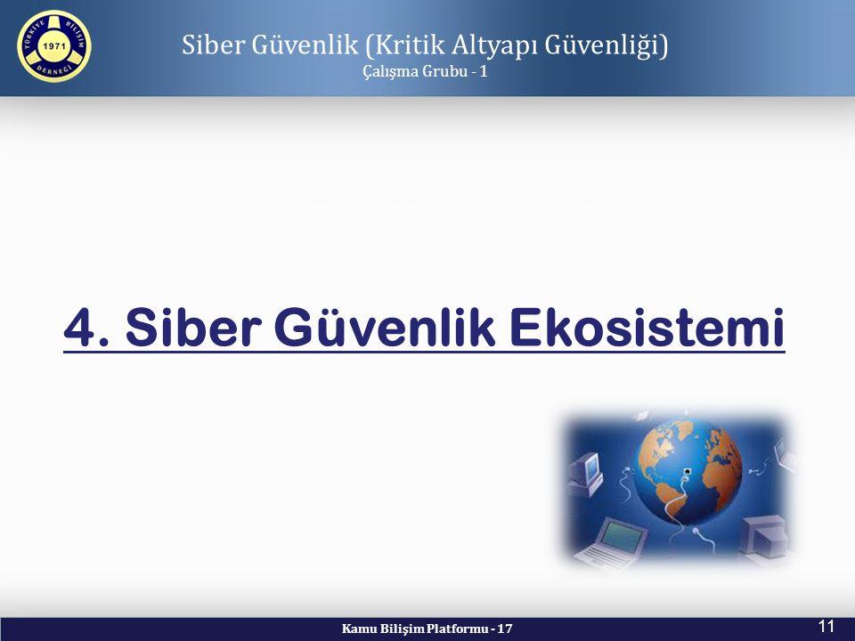 Kamu Bilişim Platformu - 17 11 Siber Güvenlik (Kritik Altyapı Güvenliği) Çalışma Grubu - 1 4. Siber Güvenlik Ekosistemi