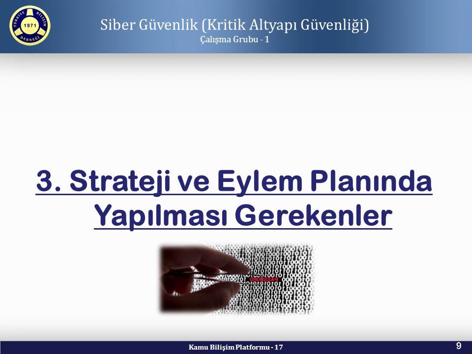 Kamu Bilişim Platformu - 17 9 Siber Güvenlik (Kritik Altyapı Güvenliği) Çalışma Grubu - 1 3. Strateji ve Eylem Planında Yapılması Gerekenler