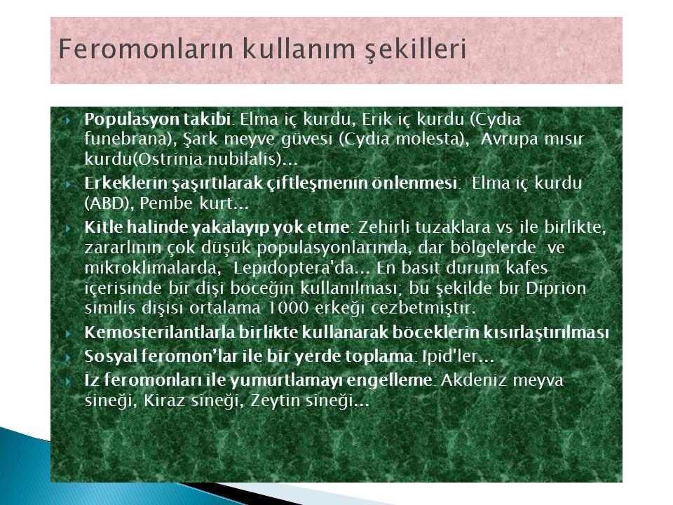  Populasyon takibi: Elma iç kurdu, Erik iç kurdu (Cydia funebrana), Şark meyve güvesi (Cydia molesta), Avrupa mısır kurdu(Ostrinia nubilalis)...  Er