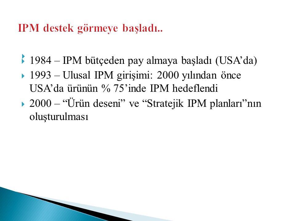 """  1984 – IPM bütçeden pay almaya başladı (USA'da)  1993 – Ulusal IPM girişimi: 2000 yılından önce USA'da ürünün % 75'inde IPM hedeflendi  2000 – """""""