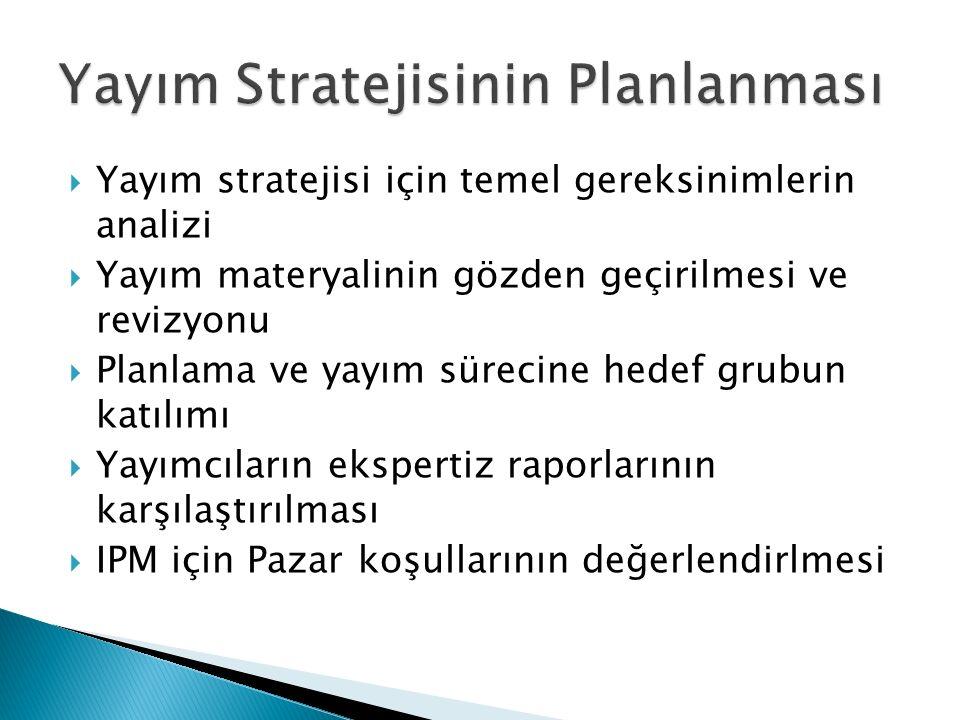  Yayım stratejisi için temel gereksinimlerin analizi  Yayım materyalinin gözden geçirilmesi ve revizyonu  Planlama ve yayım sürecine hedef grubun k