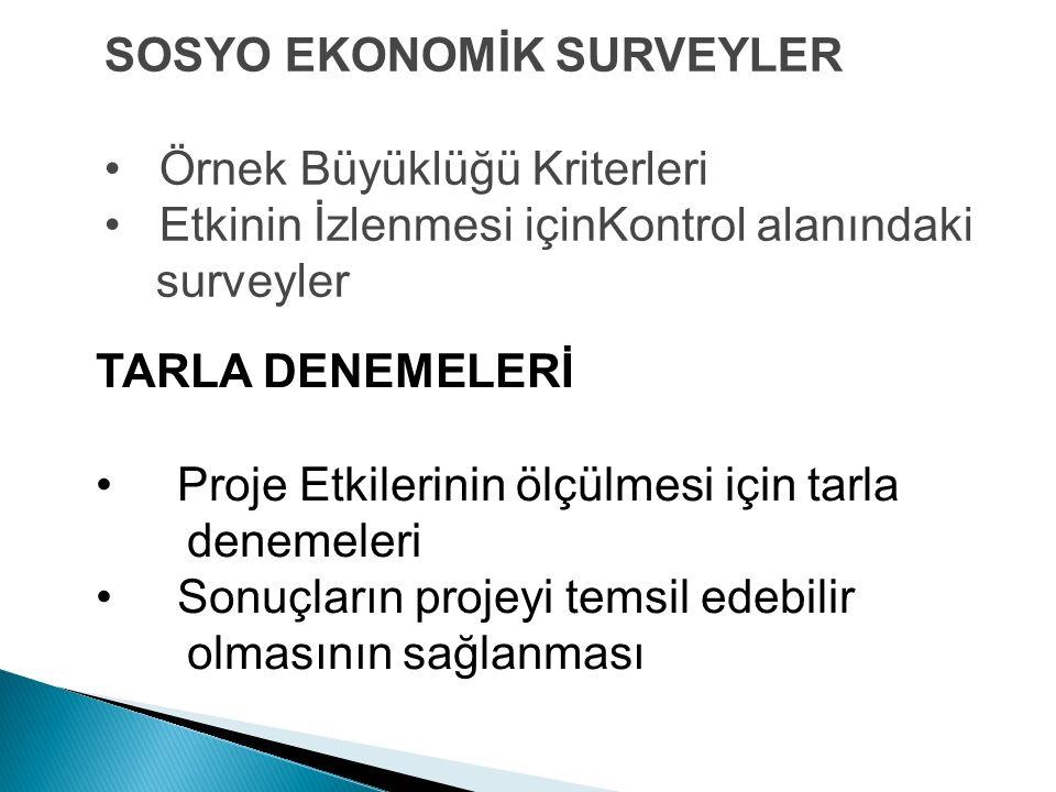 SOSYO EKONOMİK SURVEYLER Örnek Büyüklüğü Kriterleri Etkinin İzlenmesi içinKontrol alanındaki surveyler TARLA DENEMELERİ Proje Etkilerinin ölçülmesi iç