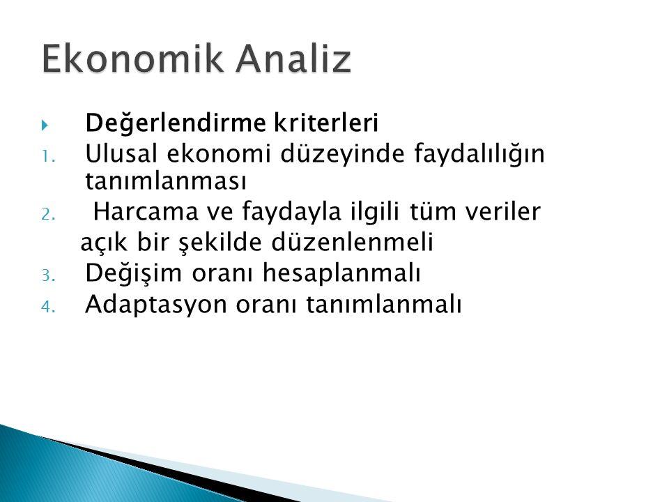  Değerlendirme kriterleri 1. Ulusal ekonomi düzeyinde faydalılığın tanımlanması 2. Harcama ve faydayla ilgili tüm veriler açık bir şekilde düzenlenme