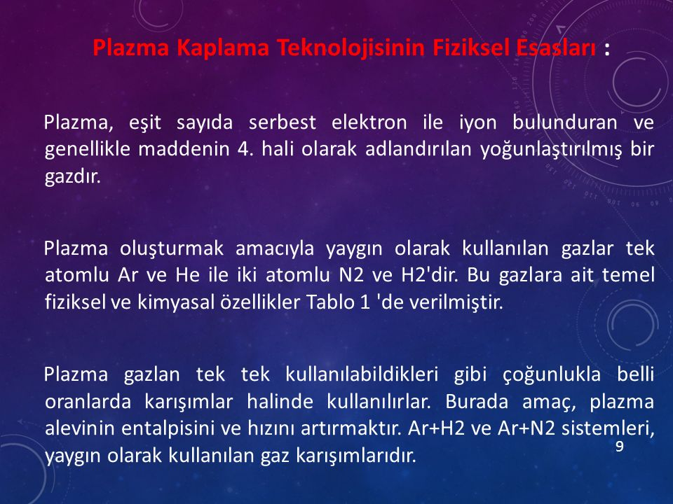 Plazma Kaplama Teknolojisinin Fiziksel Esasları : Plazma, eşit sayıda serbest elektron ile iyon bulunduran ve genellikle maddenin 4.