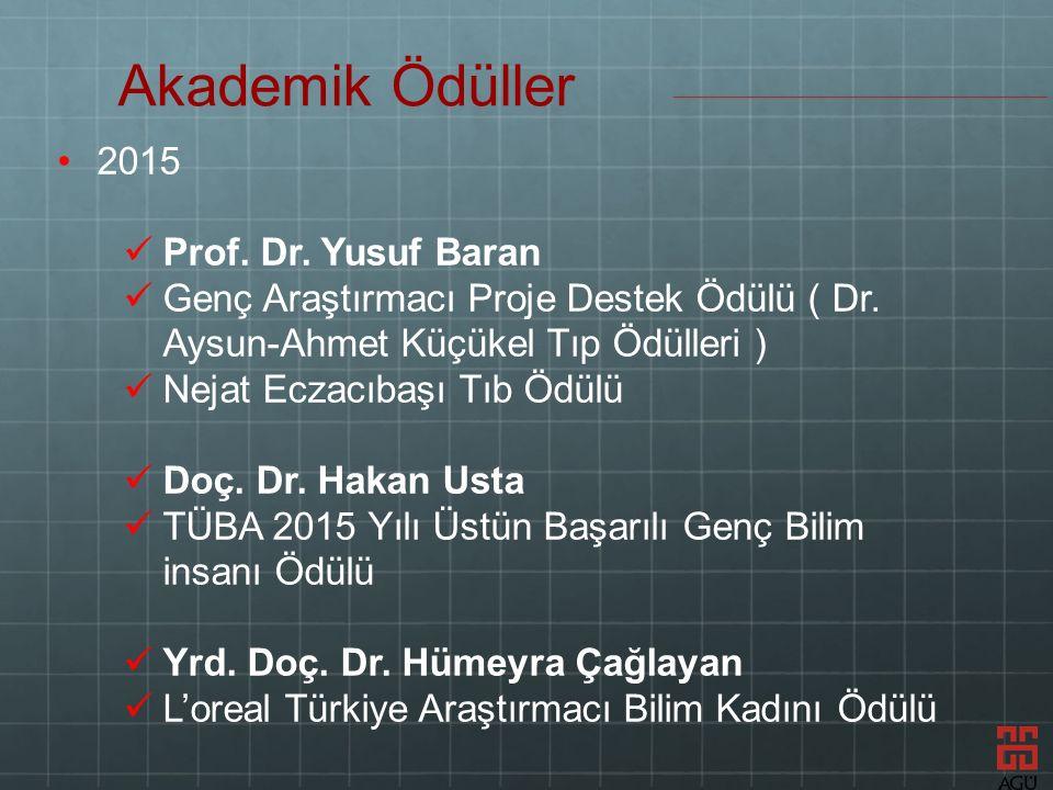2015 Prof. Dr. Yusuf Baran Genç Araştırmacı Proje Destek Ödülü ( Dr.