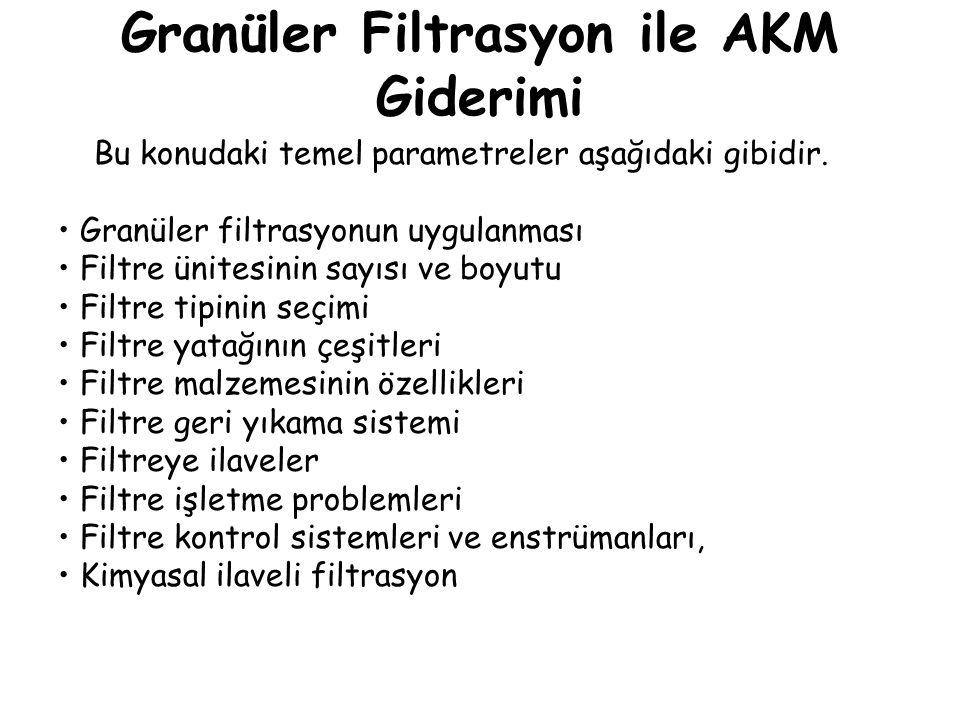 Granüler Filtrasyon ile AKM Giderimi Bu konudaki temel parametreler aşağıdaki gibidir. Granüler filtrasyonun uygulanması Filtre ünitesinin sayısı ve b