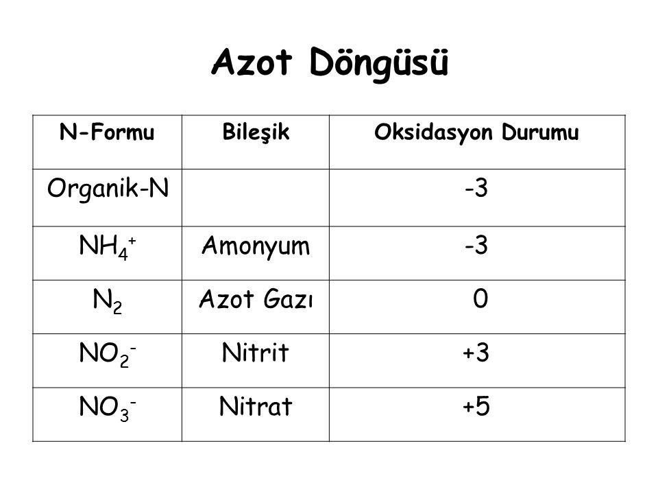 Azot Döngüsü N-FormuBileşikOksidasyon Durumu Organik-N-3 NH 4 + Amonyum-3 N2N2 Azot Gazı 0 NO 2 - Nitrit+3 NO 3 - Nitrat+5