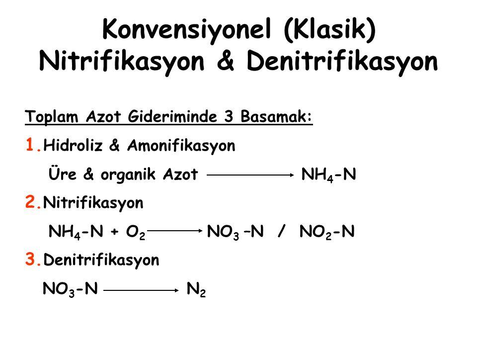 Konvensiyonel (Klasik) Nitrifikasyon & Denitrifikasyon Toplam Azot Gideriminde 3 Basamak: 1. Hidroliz & Amonifikasyon Üre & organik Azot NH 4 -N 2. Ni