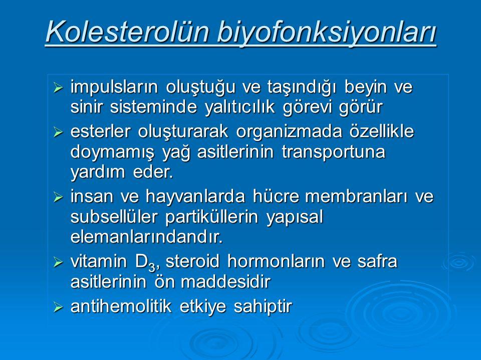 Kolesterolün biyofonksiyonları  impulsların oluştuğu ve taşındığı beyin ve sinir sisteminde yalıtıcılık görevi görür  esterler oluşturarak organizmada özellikle doymamış yağ asitlerinin transportuna yardım eder.