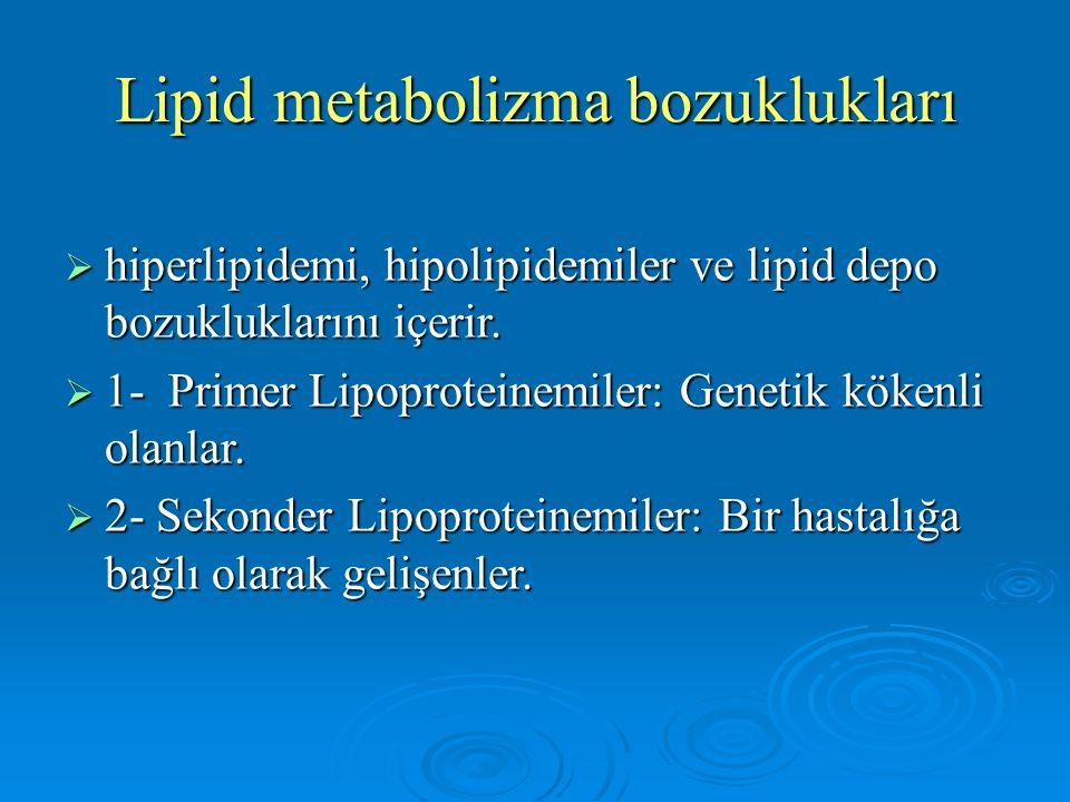 Lipid metabolizma bozuklukları  hiperlipidemi, hipolipidemiler ve lipid depo bozukluklarını içerir.