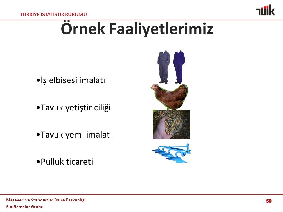 TÜRKİYE İSTATİSTİK KURUMU Metaveri ve Standartlar Daire Başkanlığı Sınıflamalar Grubu 50 Örnek Faaliyetlerimiz İş elbisesi imalatı Tavuk yetiştiricili