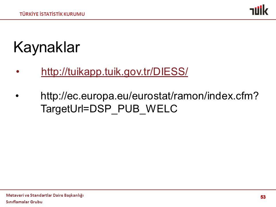 TÜRKİYE İSTATİSTİK KURUMU Metaveri ve Standartlar Daire Başkanlığı Sınıflamalar Grubu 53 Kaynaklar http://ec.europa.eu/eurostat/ramon/index.cfm? Targe