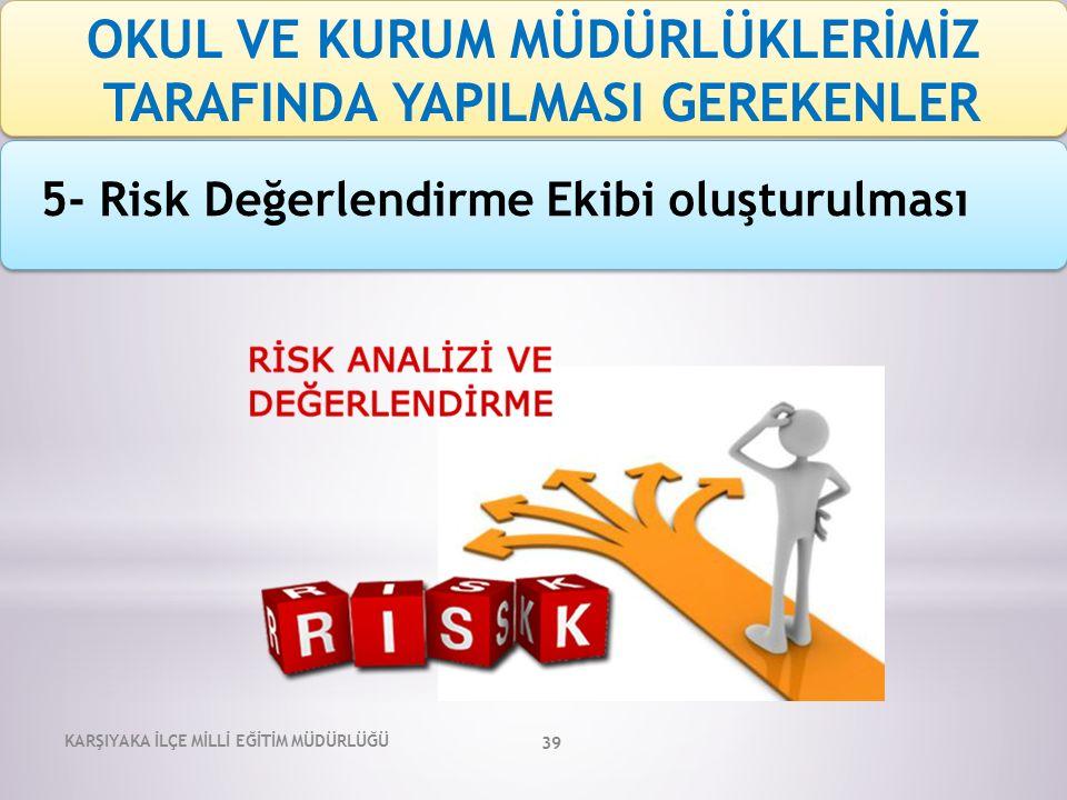 KARŞIYAKA İLÇE MİLLİ EĞİTİM MÜDÜRLÜĞÜ 39 5- Risk Değerlendirme Ekibi oluşturulması OKUL VE KURUM MÜDÜRLÜKLERİMİZ TARAFINDA YAPILMASI GEREKENLER