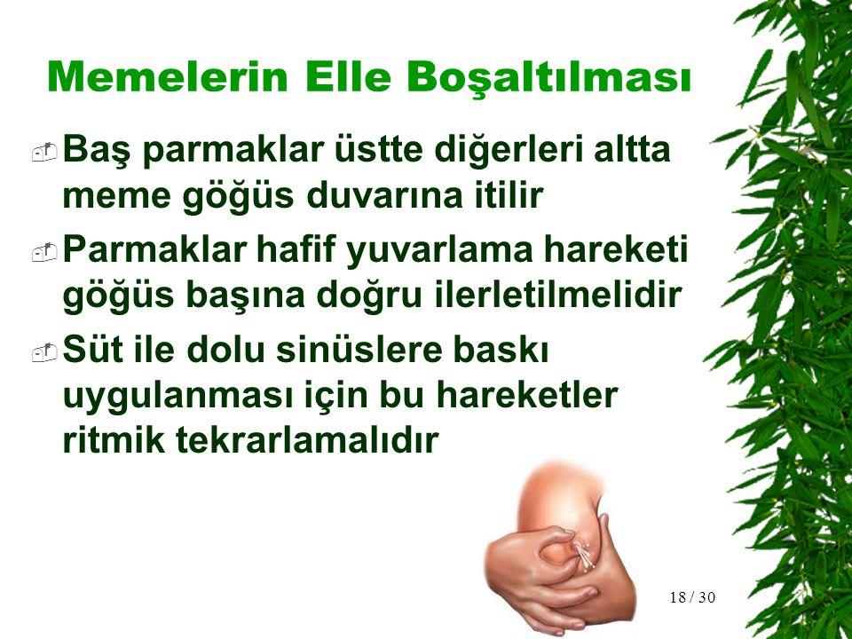 Göğüs Pompaları  Bebeğe veya anneye ait nedenlerle göğusler boşaltılamıyorsa  Gündüzleri 3, geceleri 4 –5 saatte bir  Başlangıçta her göğüse 10 –15 dak.