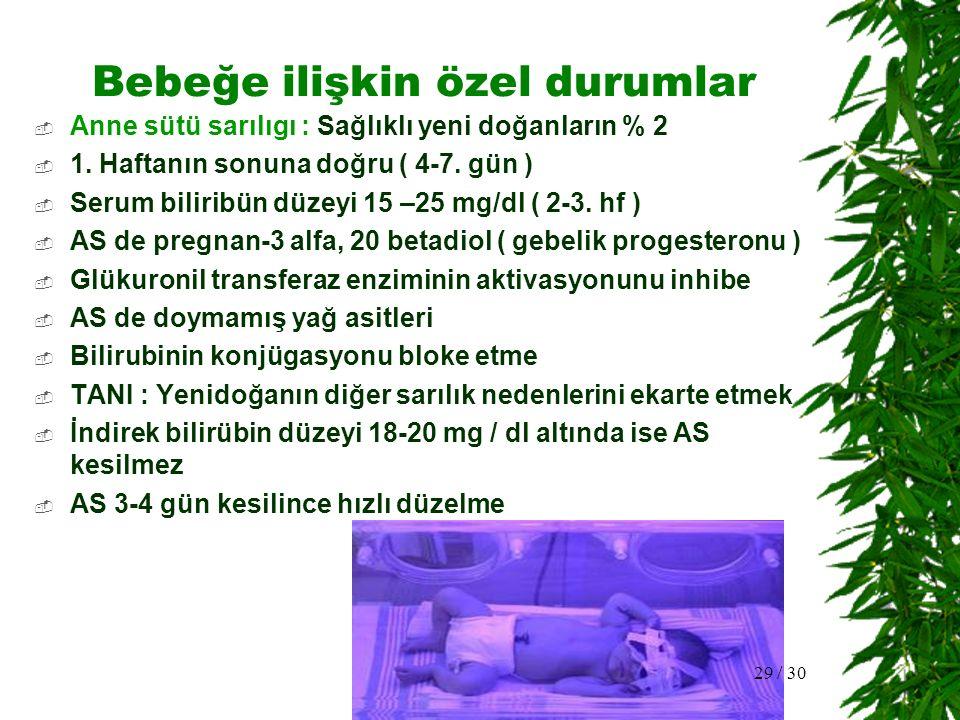 Bebeğe ilişkin özel durumlar  Anne sütü sarılıgı : Sağlıklı yeni doğanların % 2  1. Haftanın sonuna doğru ( 4-7. gün )  Serum biliribün düzeyi 15 –