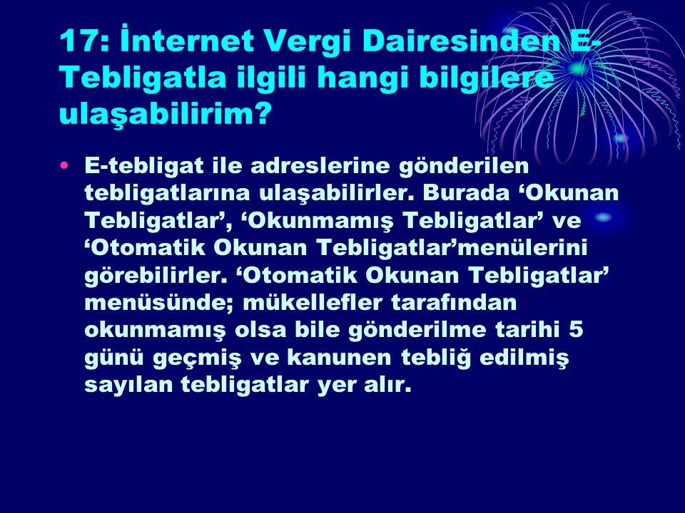 17: İnternet Vergi Dairesinden E- Tebligatla ilgili hangi bilgilere ulaşabilirim.