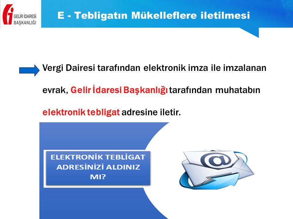 E - Tebligatın Mükelleflere iletilmesi Vergi Dairesi tarafından elektronik imza ile imzalanan evrak, Gelir İdaresi Başkanlığı tarafından muhatabın ele