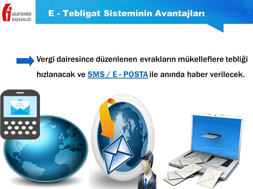 E - Tebligat Sisteminin Avantajları Vergi dairesince düzenlenen evrakların mükelleflere tebliği hızlanacak ve SMS / E - POSTA ile anında haber verilec