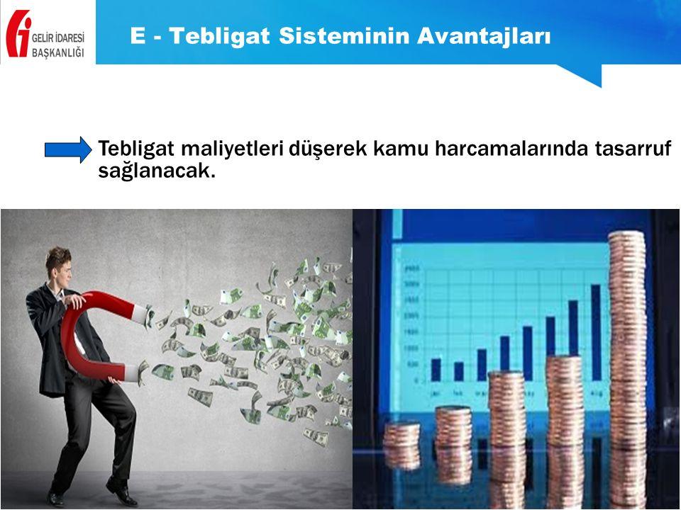 E - Tebligat Sisteminin Avantajları Tebligat maliyetleri düşerek kamu harcamalarında tasarruf sağlanacak.