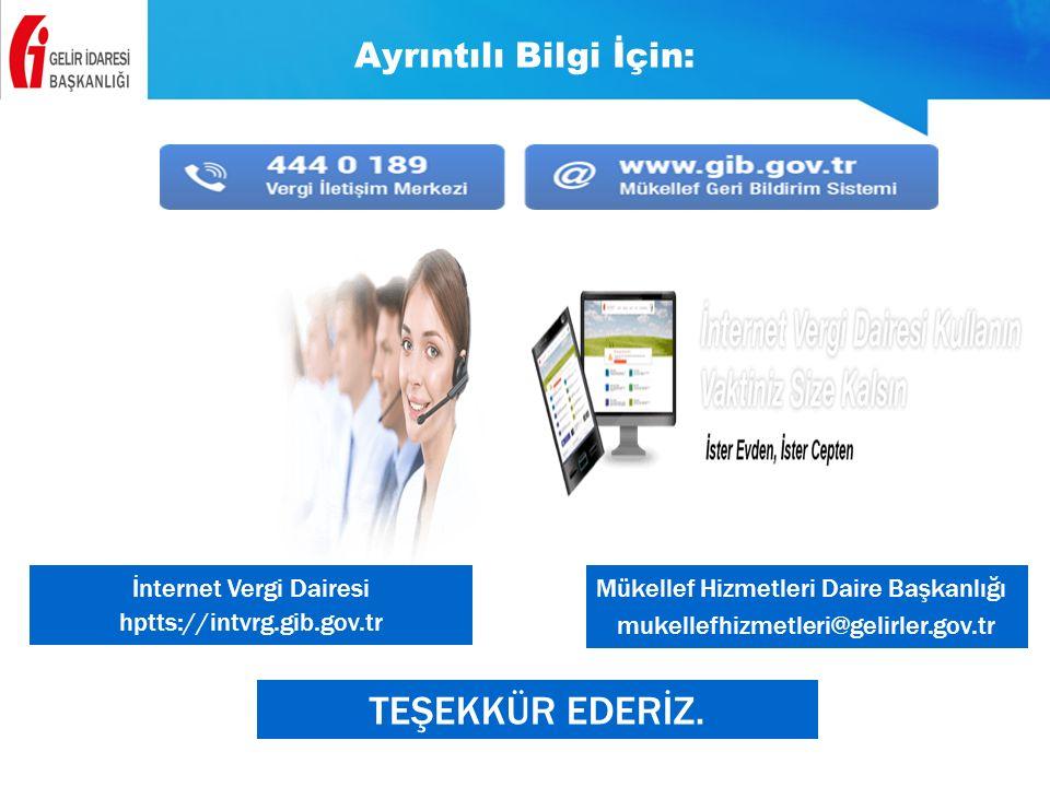 Ayrıntılı Bilgi İçin: Mükellef Hizmetleri Daire Başkanlığı mukellefhizmetleri@gelirler.gov.tr İnternet Vergi Dairesi hptts://intvrg.gib.gov.tr TEŞEKKÜ