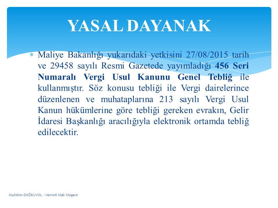  Maliye Bakanlığı yukarıdaki yetkisini 27/08/2015 tarih ve 29458 sayılı Resmi Gazetede yayımladığı 456 Seri Numaralı Vergi Usul Kanunu Genel Tebliğ ile kullanmıştır.