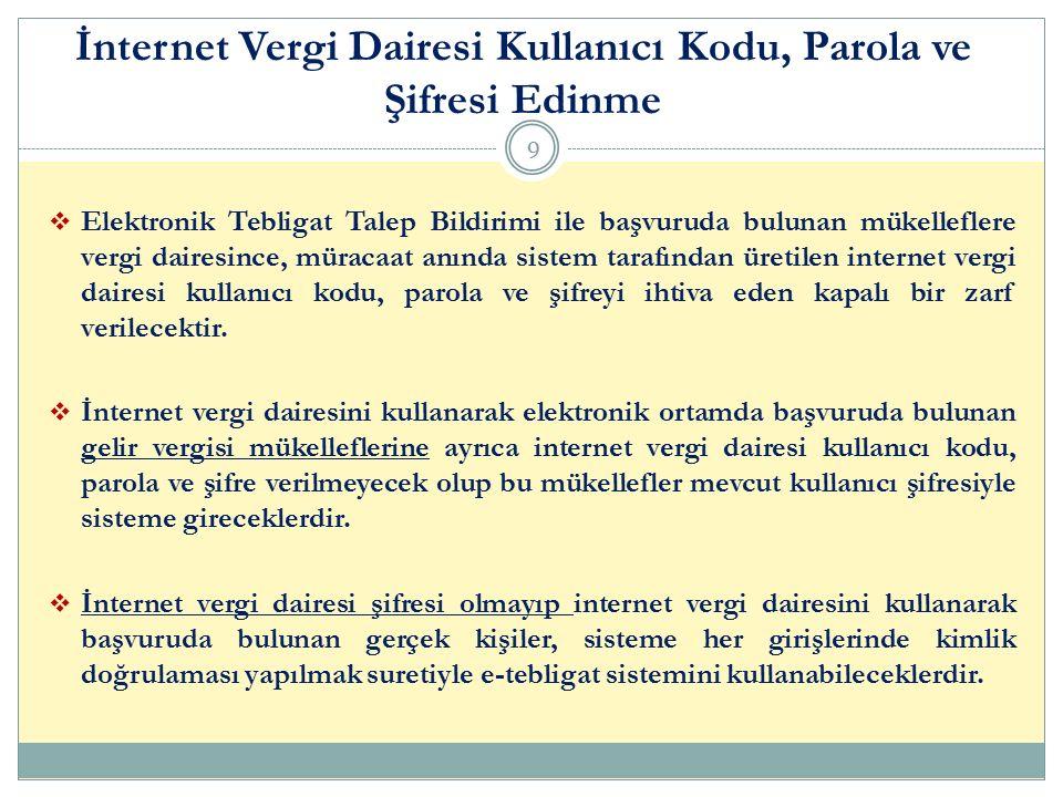  Elektronik Tebligat Talep Bildirimi ile başvuruda bulunan mükelleflere vergi dairesince, müracaat anında sistem tarafından üretilen internet vergi d