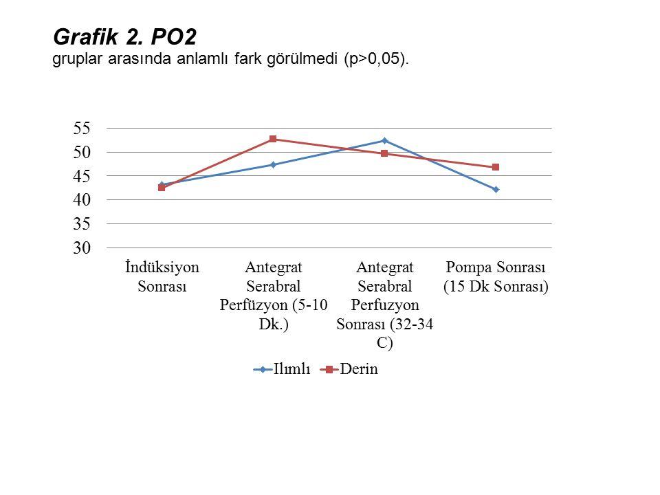 Grafik 2. PO2 gruplar arasında anlamlı fark görülmedi (p>0,05).