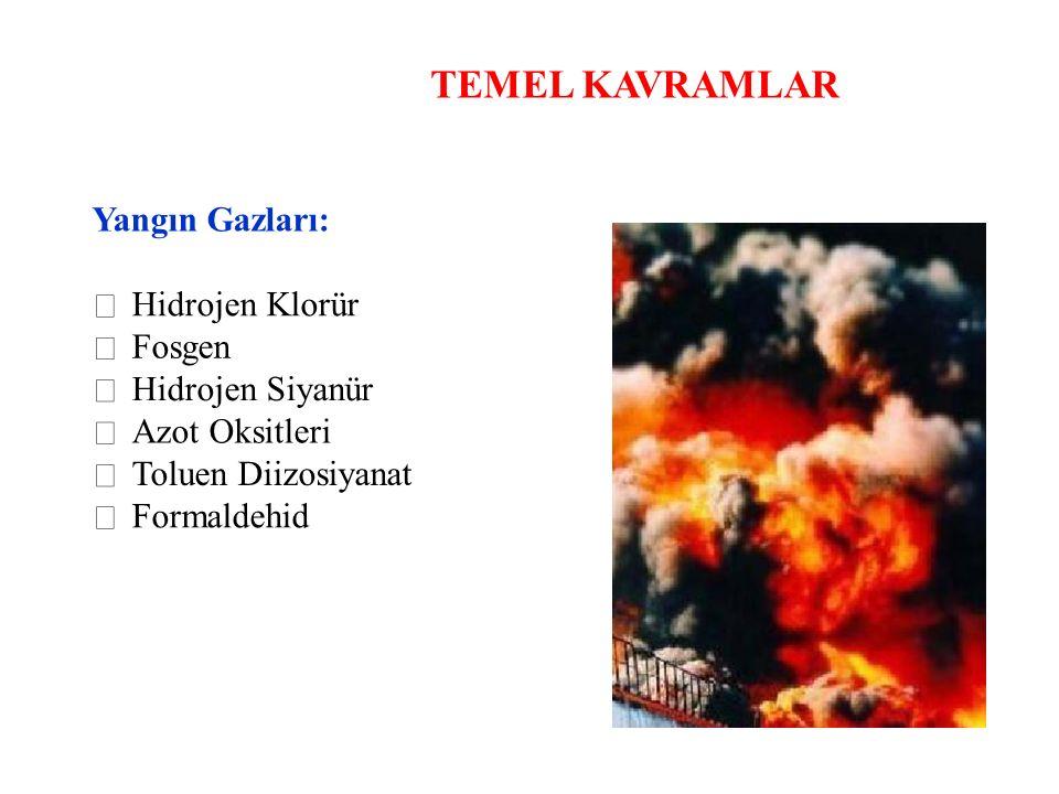 TEMEL KAVRAMLAR Yangın Gazları:  Hidrojen Klorür  Fosgen  Hidrojen Siyanür  Azot Oksitleri  Toluen Diizosiyanat  Formaldehid