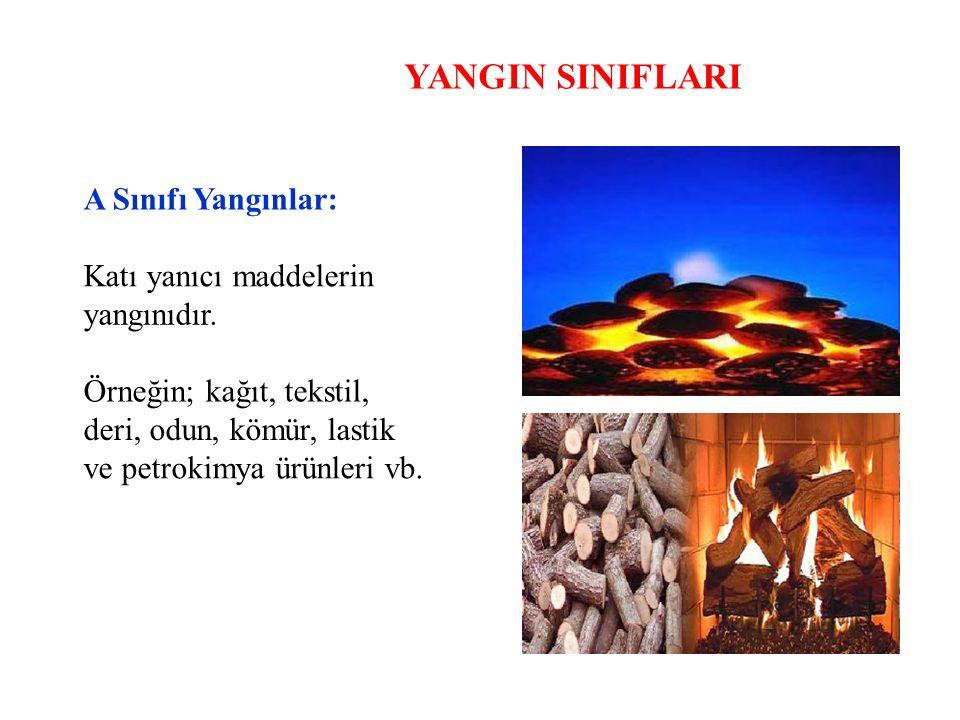 YANGIN SINIFLARI A Sınıfı Yangınlar: Katı yanıcı maddelerin yangınıdır. Örneğin; kağıt, tekstil, deri, odun, kömür, lastik ve petrokimya ürünleri vb.