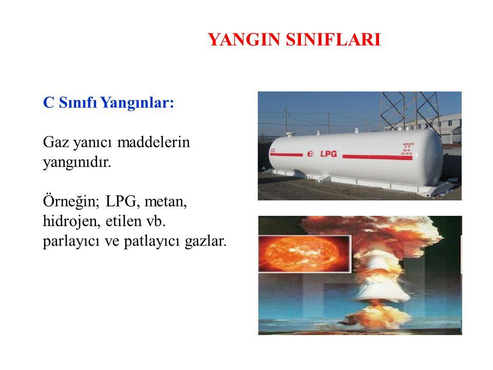 YANGIN SINIFLARI C Sınıfı Yangınlar: Gaz yanıcı maddelerin yangınıdır. Örneğin; LPG, metan, hidrojen, etilen vb. parlayıcı ve patlayıcı gazlar.