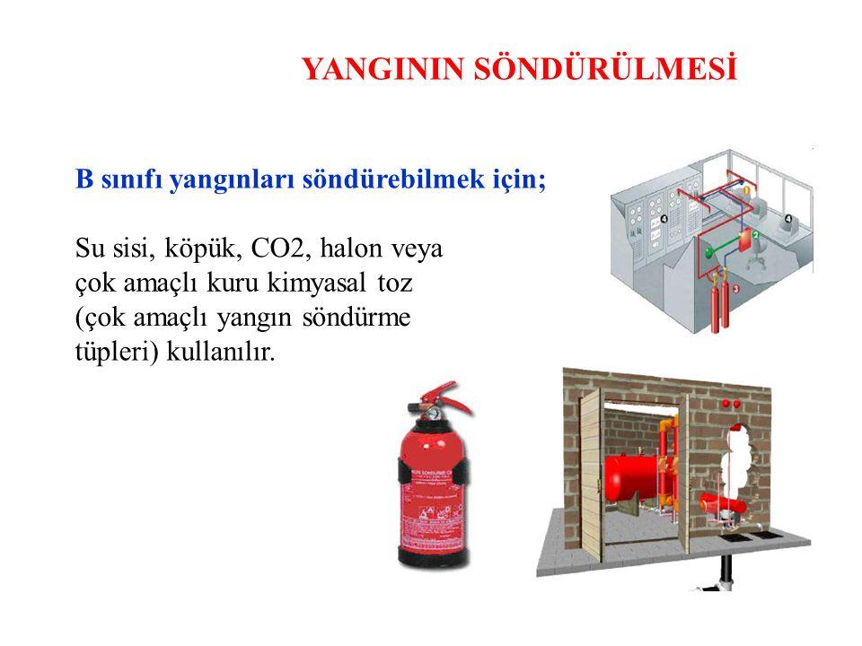 YANGININ SÖNDÜRÜLMESİ B sınıfı yangınları söndürebilmek için; Su sisi, köpük, CO2, halon veya çok amaçlı kuru kimyasal toz (çok amaçlı yangın söndürme