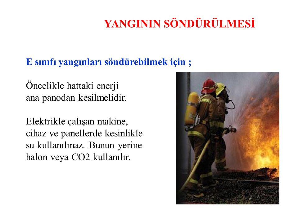 YANGININ SÖNDÜRÜLMESİ E sınıfı yangınları söndürebilmek için ; Öncelikle hattaki enerji ana panodan kesilmelidir. Elektrikle çalışan makine, cihaz ve