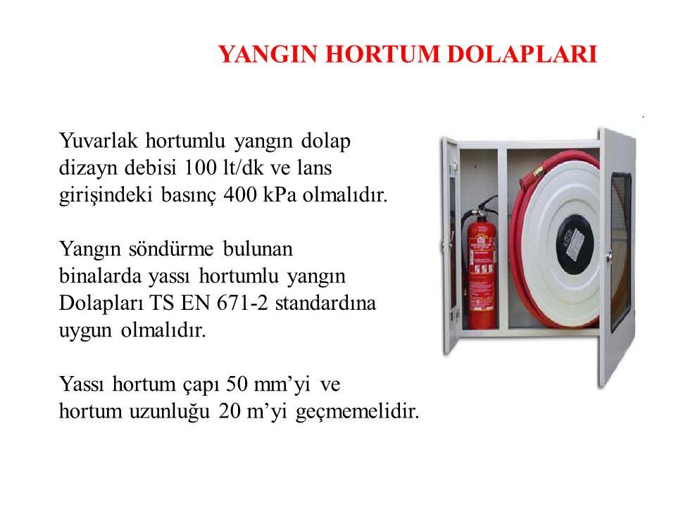 YANGIN HORTUM DOLAPLARI Yuvarlak hortumlu yangın dolap dizayn debisi 100 lt/dk ve lans girişindeki basınç 400 kPa olmalıdır. Yangın söndürme bulunan b