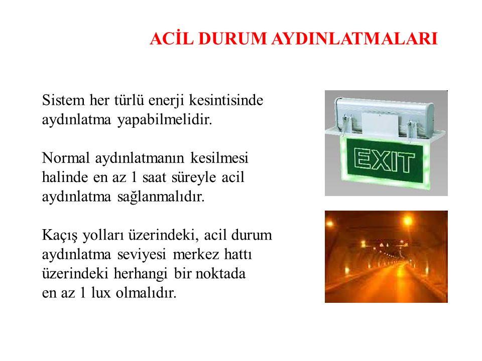 ACİL DURUM AYDINLATMALARI Sistem her türlü enerji kesintisinde aydınlatma yapabilmelidir. Normal aydınlatmanın kesilmesi halinde en az 1 saat süreyle